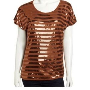 NWT Michael Kors Caramel Short sleeve shirt.